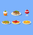 tasty dishes set delicious food main dishes and vector image vector image