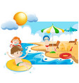 three kids swimming and playin at sea vector image vector image