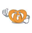 thumbs up pretzel character cartoon style vector image vector image