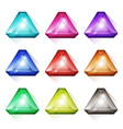 triangle gems crystal and diamonds icons vector image vector image