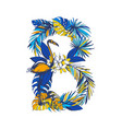 tropical floral summer letter b hand drawn vector image