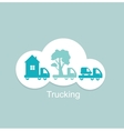 trucking houses cars trees icon vector image vector image