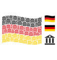 waving germany flag pattern of bank building icons vector image