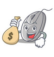 with money bag mouse character cartoon style vector image vector image