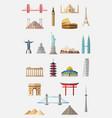 world famous landmarks icon set vector image