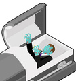 Zombie in coffin Green dead man lying in wooden vector image vector image
