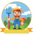 Farmer with pitchfork on farm garden background vector image