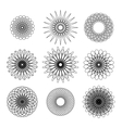 Set of nine black guilloches on white vector image