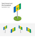 saint vincent and the grenadines flag set of 3d vector image