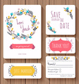Wedding invitation card set Thank you card save vector image