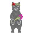Standing grey bear cartoon animal with flowers vector image