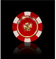vip poker red and white chip with golden ring and vector image