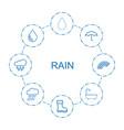 8 rain icons vector image vector image