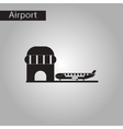 black and white style icon airplane airport vector image vector image