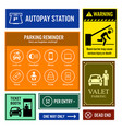 car park reminder and information signs vector image