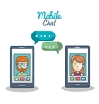 cartoon smartphone chracter mobile chat graphic vector image