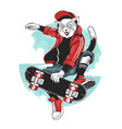 cat skateboard pop punk pop artwork with hat and j vector image vector image