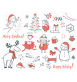 christmas and new year set cartoon vector image vector image