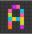 colorful brick block letter a flat design vector image vector image