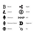 cryptocurrency logo set vector image vector image