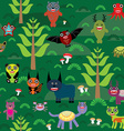 Cute cartoon Monsters seamless pattern on green e vector image