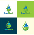 drop and leaf logo and icon vector image