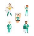 flat doctor nurse surgeon characters set vector image vector image