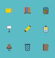 flat icons trash basket identification bookshop vector image vector image
