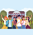 girls and boys students in the professional vector image vector image