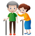 grandfather and grandmother with walking stick vector image