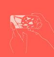 hand phone broken glass coral vector image vector image