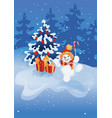 happy smiling jumping snowman with candy cane on vector image