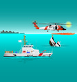 Helicopter rescue teams and ship at sea 2 vector image vector image