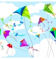 Kites and sky with clouds horizontal seamless vector image