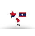 laos country flag inside map contour design icon vector image vector image
