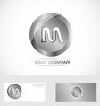 Leter M silver metal logo vector image