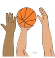 male hands reaching for basket ball strugglng for vector image