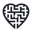 maze in heart shape vector image vector image