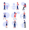 men women and kids drinking fresh clean water to vector image vector image