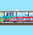modern railway station with high speed train vector image