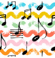 music notes seamless pattern with waves vector image