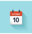 October 10 flat daily calendar icon Date vector image vector image