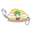 okay cartoon lemon cake with lemon slice vector image vector image