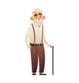 old man with cane elderly senior on white vector image