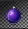 realistic purple christmas ball with silver ribbon vector image