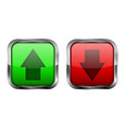 red and green 3d buttons up and down icons