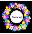 Round frame with wreath from flowers vector image vector image