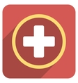Rounded Plus Flat Rounded Square Icon with Long vector image vector image