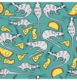Seamless Pattern with White Rats and Cheese vector image vector image