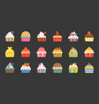 set fancy cup cake flat design icon vector image